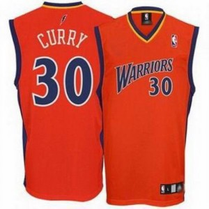 Maillot NBA Golden State Warriors #30 Stephen Curry Orange Adidas Authentic - Homme