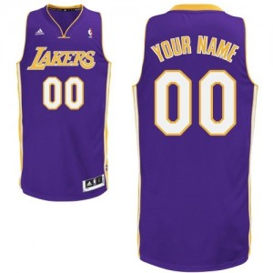 Maillot NBA Los Angeles Lakers Personnalisé Swingman Violet Adidas Road - Homme