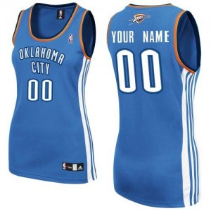 Maillot NBA Oklahoma City Thunder Personnalisé Authentic Bleu royal Adidas Road - Femme