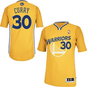 Maillot NBA Or Stephen Curry #30 Golden State Warriors Alternate Authentic Homme Adidas