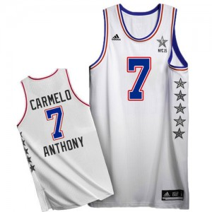 Maillot NBA Blanc Carmelo Anthony #7 New York Knicks 2015 All Star Authentic Homme Adidas