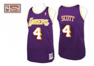 Los Angeles Lakers Mitchell and Ness Byron Scott #4 Throwback Authentic Maillot d'équipe de NBA - Violet pour Homme