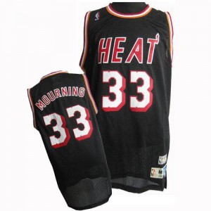 Maillot NBA Noir Alonzo Mourning #33 Miami Heat Throwback Finals Patch Authentic Homme Adidas