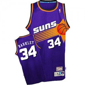Maillot NBA Violet Charles Barkley #34 Phoenix Suns Throwback Authentic Homme Mitchell and Ness