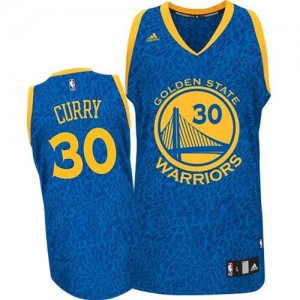 Maillot NBA Bleu Stephen Curry #30 Golden State Warriors Crazy Light Authentic Homme Adidas