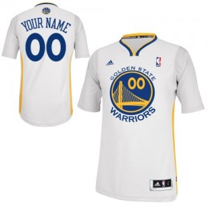 Maillot NBA Golden State Warriors Personnalisé Swingman Blanc Adidas Alternate - Enfants