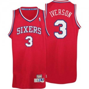 Maillot NBA Philadelphia 76ers #3 Allen Iverson Rouge Adidas Authentic Throwack - Homme