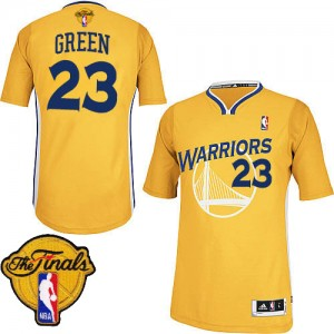 Maillot NBA Golden State Warriors #23 Draymond Green Or Adidas Authentic Alternate 2015 The Finals Patch - Homme