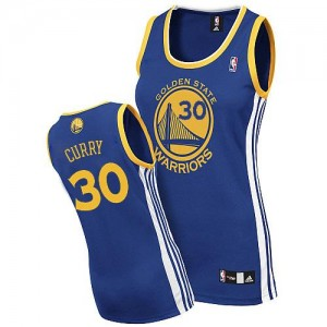 Golden State Warriors Stephen Curry #30 Road Authentic Maillot d'équipe de NBA - Bleu royal pour Femme