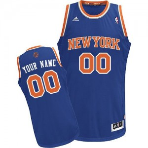 New York Knicks Personnalisé Adidas Road Bleu royal Maillot d'équipe de NBA Remise - Swingman pour Homme