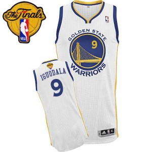Maillot NBA Authentic Andre Iguodala #9 Golden State Warriors Home 2015 The Finals Patch Blanc - Homme