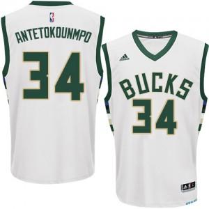 Milwaukee Bucks #34 Adidas Home Blanc Swingman Maillot d'équipe de NBA Discount - Giannis Antetokounmpo pour Homme