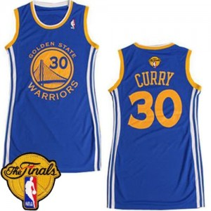 Golden State Warriors #30 Adidas Dress 2015 The Finals Patch Bleu Authentic Maillot d'équipe de NBA Vente - Stephen Curry pour Femme