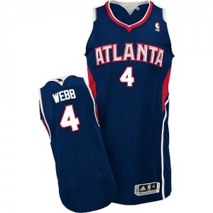 Maillot NBA Bleu marin Spud Webb #4 Atlanta Hawks Road Authentic Homme Adidas