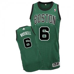 Boston Celtics Bill Russell #6 Alternate Authentic Maillot d'équipe de NBA - Vert (No. noir) pour Homme