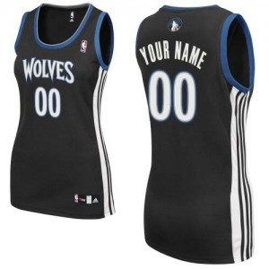 Maillot NBA Authentic Personnalisé Minnesota Timberwolves Alternate Noir - Femme