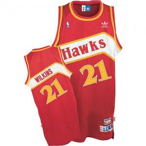 Maillot NBA Rouge Dominique Wilkins #21 Atlanta Hawks Throwback Swingman Homme Adidas