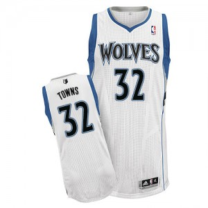 Maillot Adidas Blanc Home Authentic Minnesota Timberwolves - Karl-Anthony Towns #32 - Homme