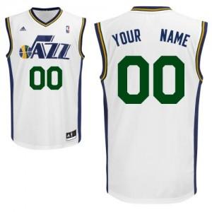 Utah Jazz Personnalisé Adidas Home Blanc Maillot d'équipe de NBA préférentiel - Swingman pour Homme