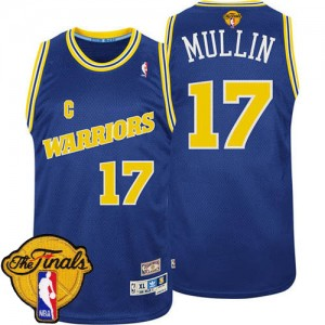 Maillot NBA Bleu Chris Mullin #17 Golden State Warriors Throwback 2015 The Finals Patch Authentic Homme Adidas
