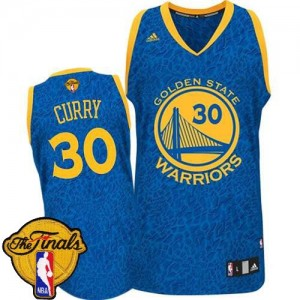 Golden State Warriors Stephen Curry #30 Crazy Light 2015 The Finals Patch Swingman Maillot d'équipe de NBA - Bleu pour Homme