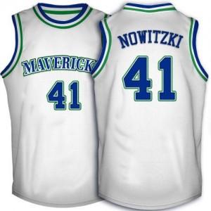 Maillot NBA Swingman Dirk Nowitzki #41 Dallas Mavericks Throwback Blanc - Homme