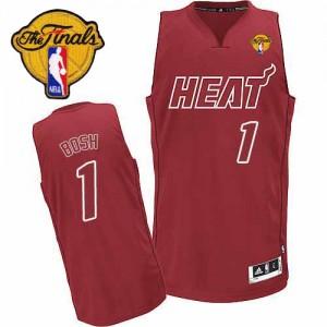 Maillot NBA Rouge Chris Bosh #1 Miami Heat Big Color Fashion Finals Patch Authentic Homme Adidas