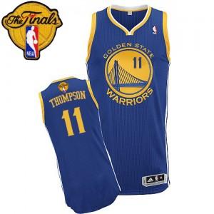 Golden State Warriors Klay Thompson #11 Road 2015 The Finals Patch Authentic Maillot d'équipe de NBA - Bleu royal pour Femme