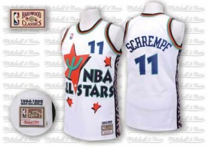 Oklahoma City Thunder Detlef Schrempf #11 Throwback 1995 All Star Authentic Maillot d'équipe de NBA - Blanc pour Homme