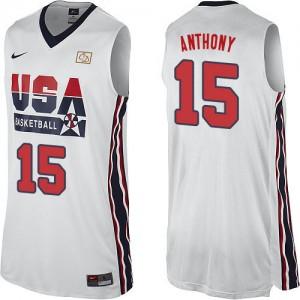 Team USA Nike Carmelo Anthony #15 2012 Olympic Retro Authentic Maillot d'équipe de NBA - Blanc pour Homme