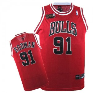 Maillot NBA Rouge Dennis Rodman #91 Chicago Bulls Champions Patch Authentic Homme Nike
