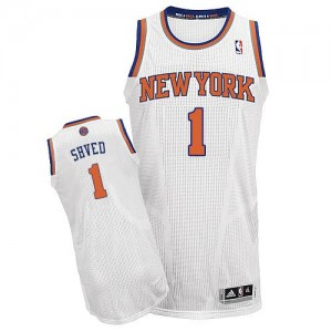 New York Knicks #1 Adidas Home Blanc Authentic Maillot d'équipe de NBA Braderie - Alexey Shved pour Homme