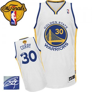 Golden State Warriors Stephen Curry #30 Home Autographed 2015 The Finals Patch Authentic Maillot d'équipe de NBA - Blanc pour Homme