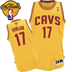 Maillot NBA Cleveland Cavaliers #17 Anderson Varejao Or Adidas Authentic Alternate 2015 The Finals Patch - Homme