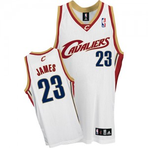 Maillot Adidas Blanc Authentic Cleveland Cavaliers - LeBron James #23 - Homme
