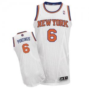 New York Knicks Kristaps Porzingis #6 Home Authentic Maillot d'équipe de NBA - Blanc pour Homme