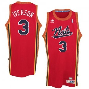 "Maillot Authentic Philadelphia 76ers NBA Throwback ""Nats"" Rouge - #3 Allen Iverson - Homme"