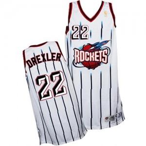 Houston Rockets #22 Adidas Throwback Blanc Authentic Maillot d'équipe de NBA Vente pas cher - Clyde Drexler pour Homme