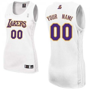 Maillot NBA Blanc Authentic Personnalisé Los Angeles Lakers Alternate Femme Adidas