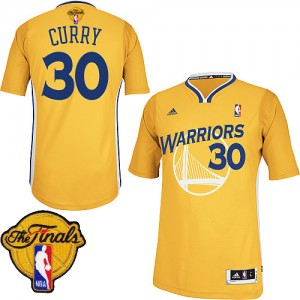 Golden State Warriors #30 Adidas Alternate 2015 The Finals Patch Or Swingman Maillot d'équipe de NBA Remise - Stephen Curry pour Homme