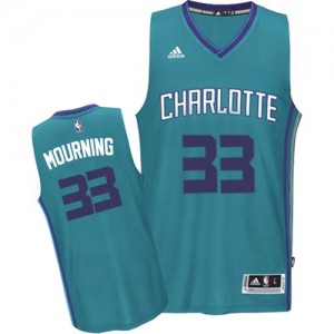 Maillot NBA Bleu clair Alonzo Mourning #33 Charlotte Hornets Road Swingman Homme Adidas