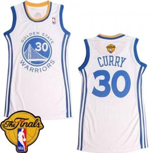 Golden State Warriors Stephen Curry #30 Dress 2015 The Finals Patch Swingman Maillot d'équipe de NBA - Blanc pour Femme