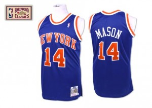 Maillot Authentic New York Knicks NBA Throwback Bleu royal - #14 Anthony Mason - Homme