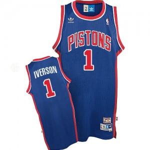 Detroit Pistons #1 Adidas Throwback Bleu Authentic Maillot d'équipe de NBA préférentiel - Allen Iverson pour Homme