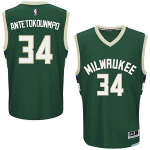 Maillot NBA Vert Giannis Antetokounmpo #34 Milwaukee Bucks Road Authentic Homme Adidas
