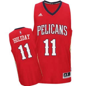 Maillot NBA Rouge Jrue Holiday #11 New Orleans Pelicans Alternate Authentic Homme Adidas
