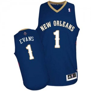 Maillot NBA New Orleans Pelicans #1 Tyreke Evans Bleu marin Adidas Authentic Road - Homme
