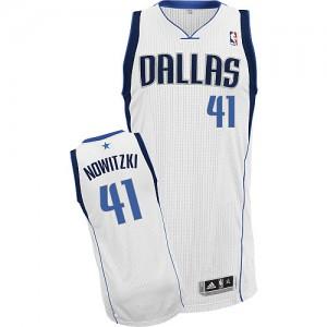 Maillot NBA Blanc Dirk Nowitzki #41 Dallas Mavericks Home Authentic Enfants Adidas