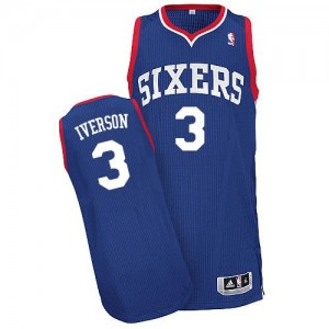 Maillot NBA Bleu royal Allen Iverson #3 Philadelphia 76ers Alternate Authentic Homme Adidas