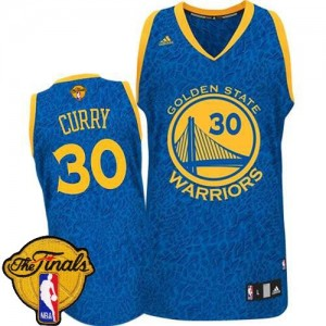 Maillot NBA Authentic Stephen Curry #30 Golden State Warriors Crazy Light 2015 The Finals Patch Bleu - Homme